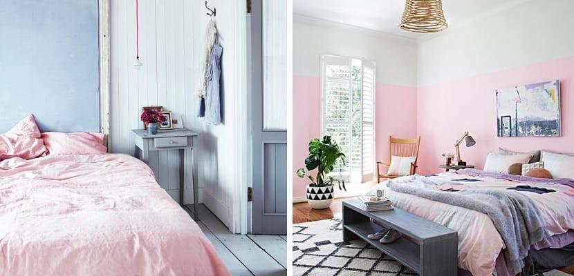 Dormitorio con tonos rosados