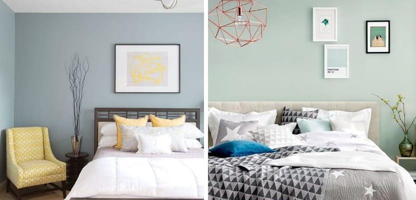 Dormitorio con tonos verdes o amarillos
