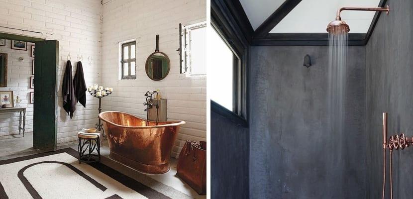 Accesorios de cobre en el baño