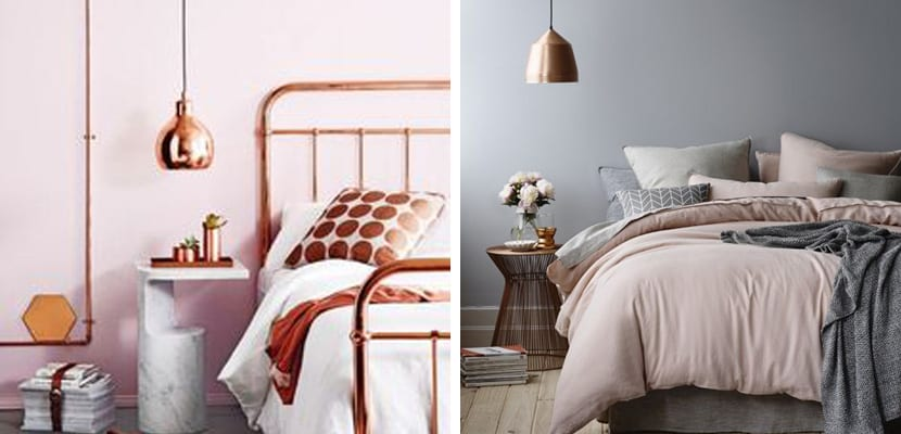 Lámparas de cobre en el dormitorio