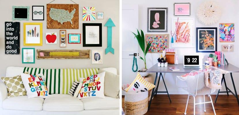 decorar con marcos y cuadros diferentes