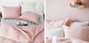 Dormitorio con textiles rosa cuarzo