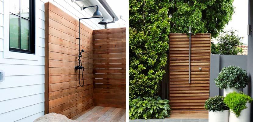 Poner una ducha exterior en el jard n for Duchas para piscinas exterior