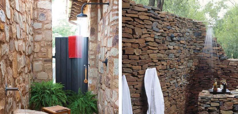 Ducha exterior con piedra