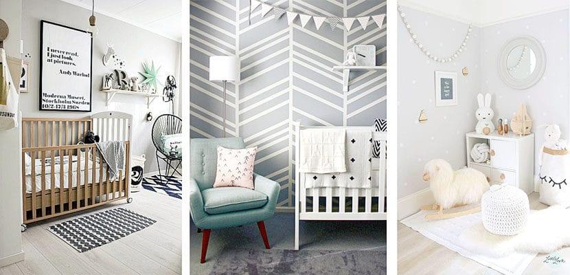Habitaciones de bebé con paredes grises