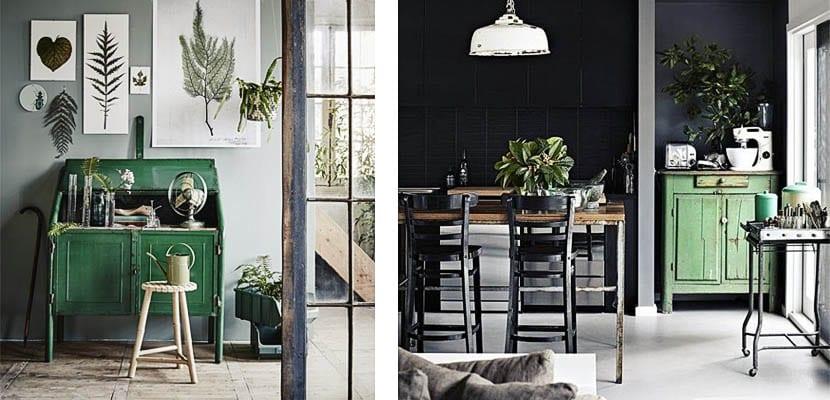 Muebles pintados de verde
