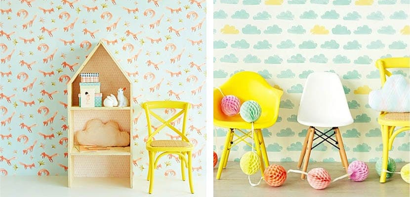 Originales papeles pintados para el dormitorio infantil for Papel decomural infantil