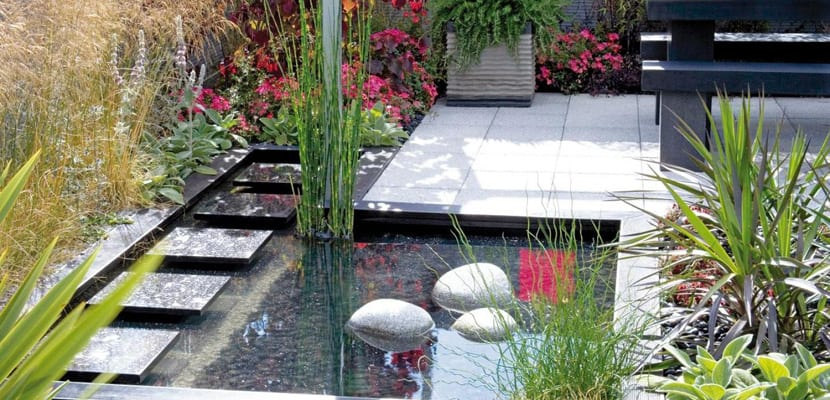 Terraza Feng Shui con agua