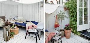 Terraza de madera en estilo nórdico