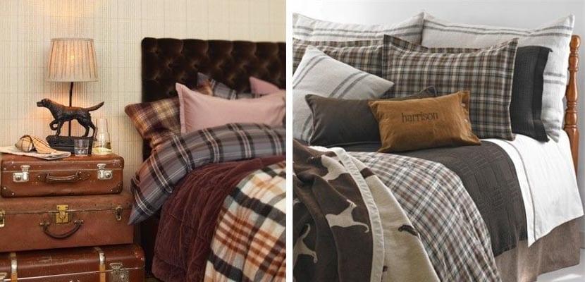 Textiles de cama con cuadros
