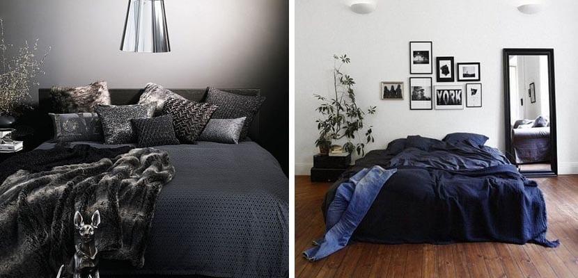 Textiles de cama en tonos oscuros