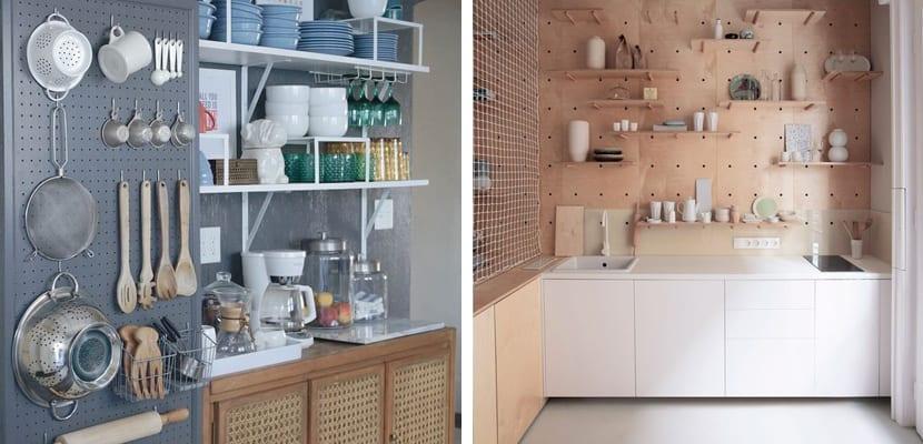 Paneles perforados en la cocina