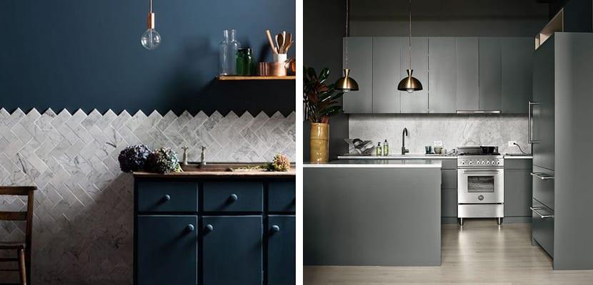 Originales cocinas en tonos oscuros for Cocinas en color gris claro
