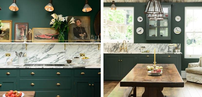 Original cocina verde con estilo clásico