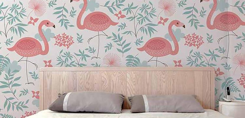Decoraci n veraniega con flamencos en el hogar - Papel decorativo para pared ...
