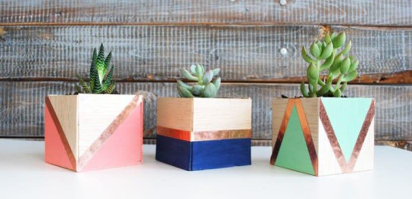 Macetas geométricas coloridas