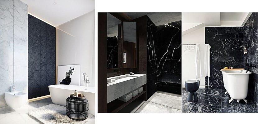 M rmol negro en el cuarto de ba o for Fotos de cuartos de bano de marmol