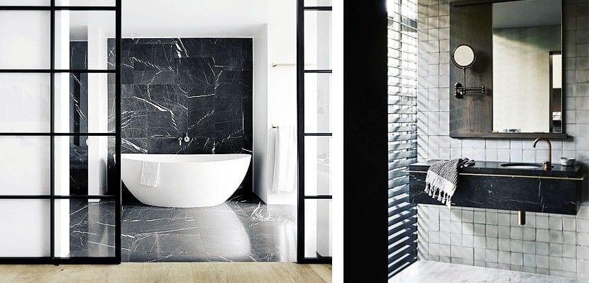 Mármol negro en el cuarto de baño