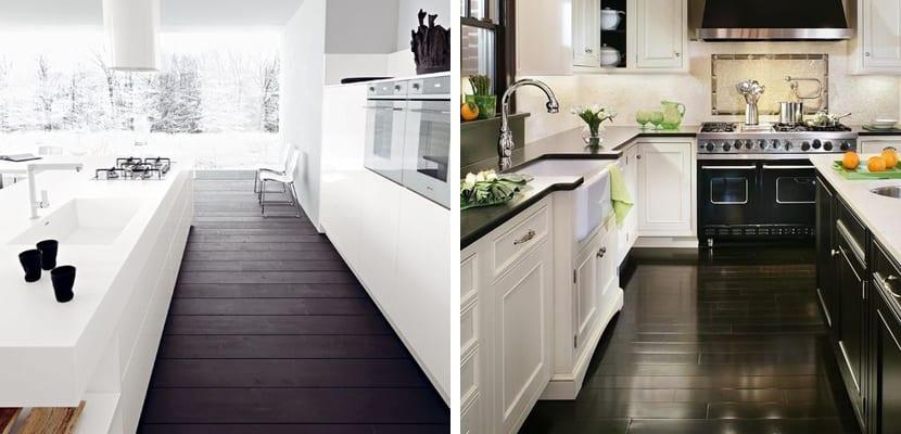 Suelos negros de madera para el hogar - Suelo madera cocina ...