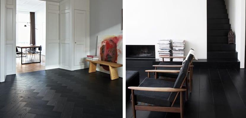 Suelos negros de madera para el hogar for Suelo negro brillante