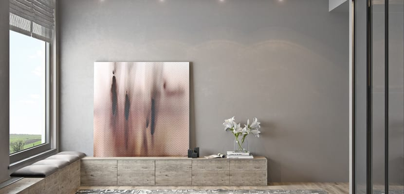 Salón paredes grises