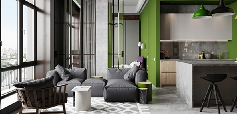 Salón con toques verdes