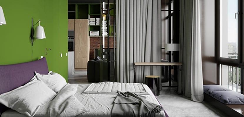 Color verde en el dormitorio