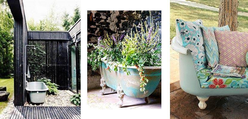 Bañera en el jardín