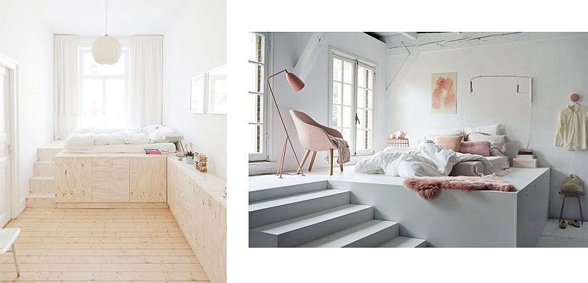 Dormitorio con diferentes niveles
