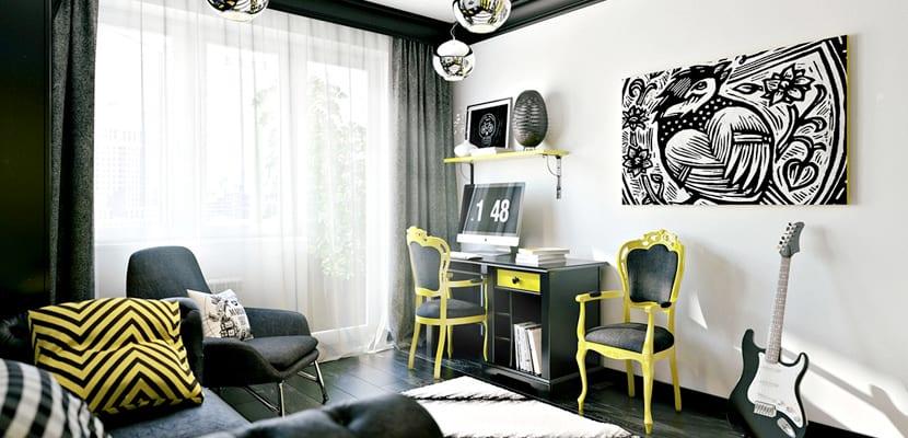 Habitaci n juvenil moderna en amarillo y negro - Habitacion infantil juvenil ...