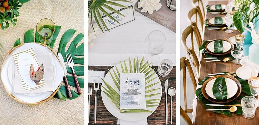 Mesas decoradas con hojas