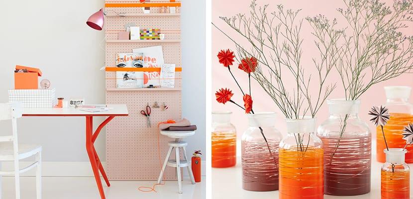 Colores naranja y rosa