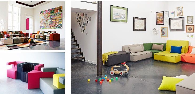 Sofás modulares multicolor