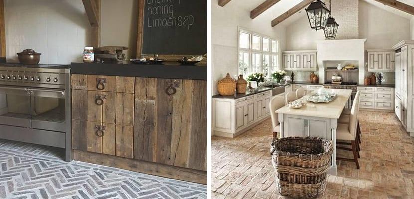 suelo de la cocina en ladrillo