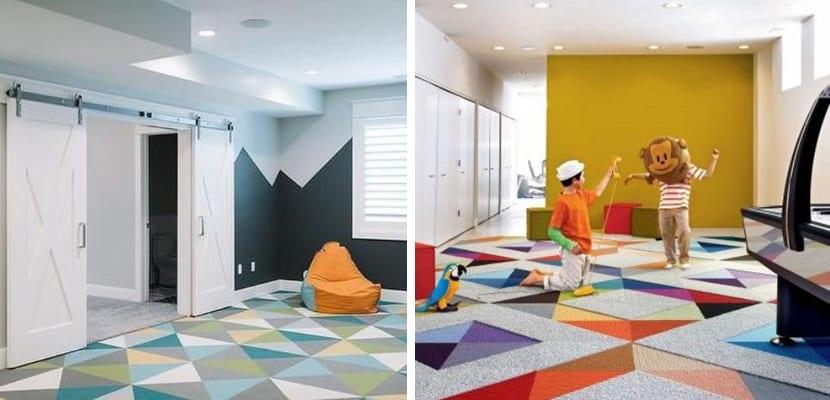 Suelos con alfombras de colores