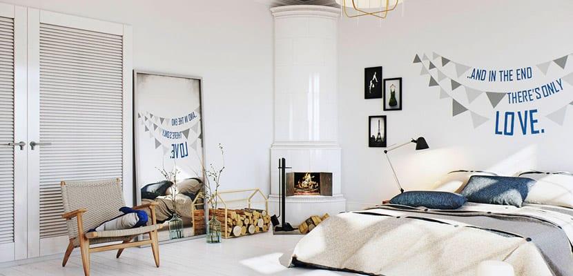 Dormitorio en estilo escandinavo