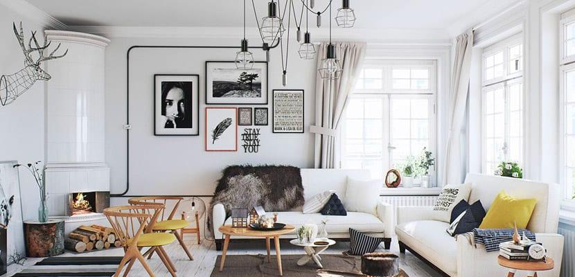 Salón con estilo escandinavo