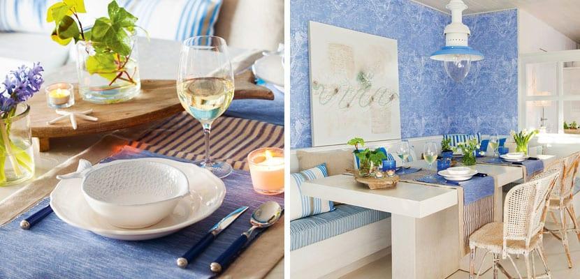 Comedor azul y blanco
