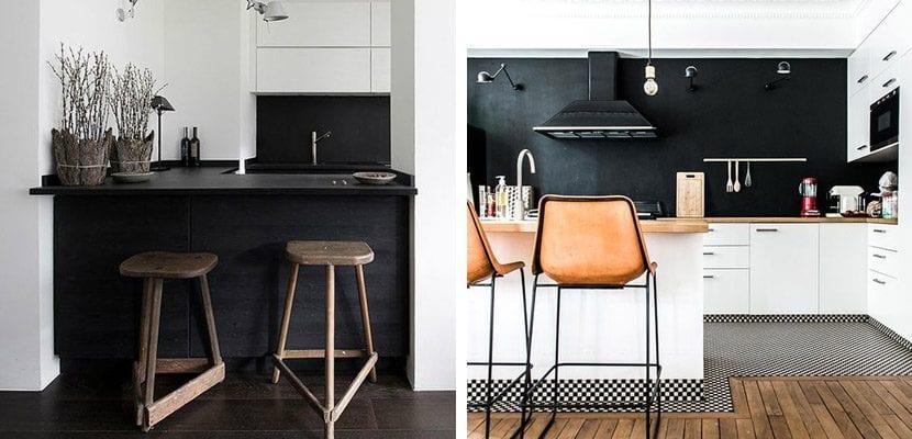 Blanco y negro con madera