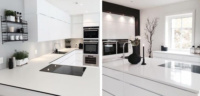 Cocina blanca con toques en negro
