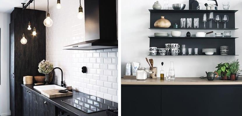 Cocinas elegantes en blanco y negro for Cocina con electrodomesticos de color negro