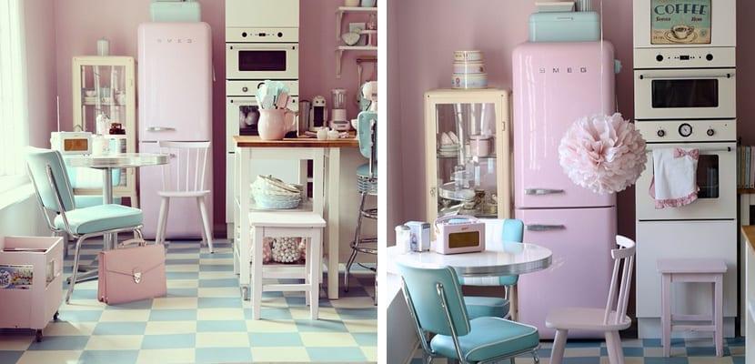 Cocina vintage en rosa