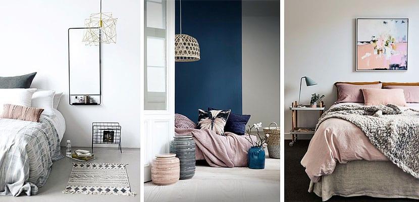 Dormitorios femeninos en tonos grises y rosas