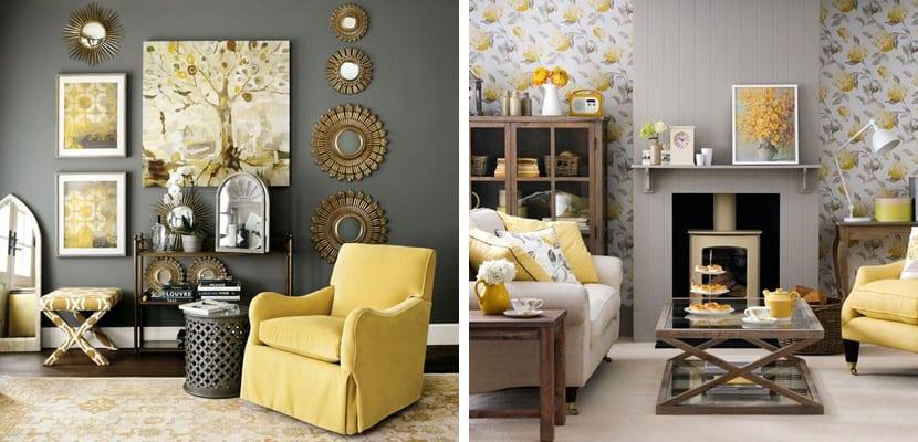 Salones en amarillo y gris