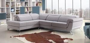 Sofá de piel gris