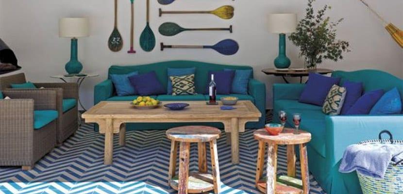 Sofás de tela en color azul