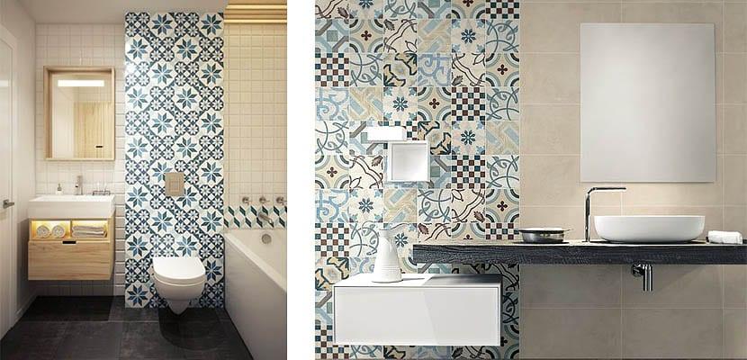 Azulejos hidráulicos en el baño