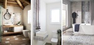 Detalles de azulejo hidráulico en el baño