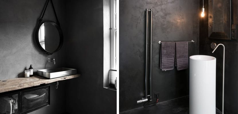 Tonos oscuros en el baño