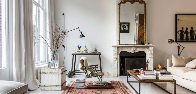 Salón moderno y vintage
